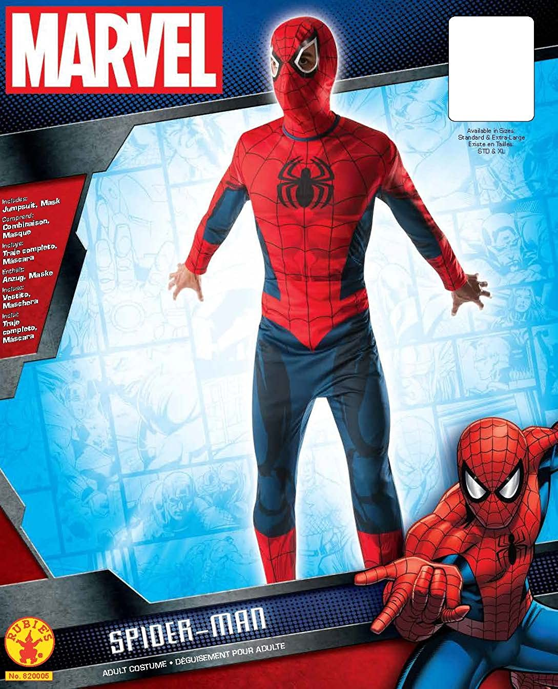 Amazon.com: Marvel Rubies Costume Mens Classic Adult Spider-Man Costume: Clothing