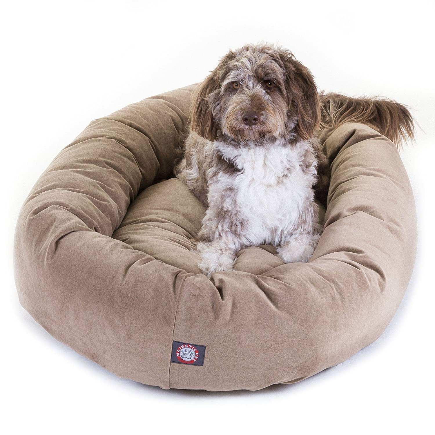 amazon com 52 inch stone suede bagel dog bed by majestic pet
