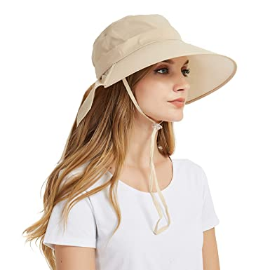 B07GLKCKSXEINSKEY Ladies Sun Hat Summer Womens Wide Brim Packable Cotton Hat  with Neck Protection Flap and 8740e25f0a05
