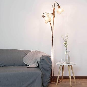 Florale Lampadaire (en Marron, Blanc, Hauteur 156 Cm, 3 Ampoules, Calice