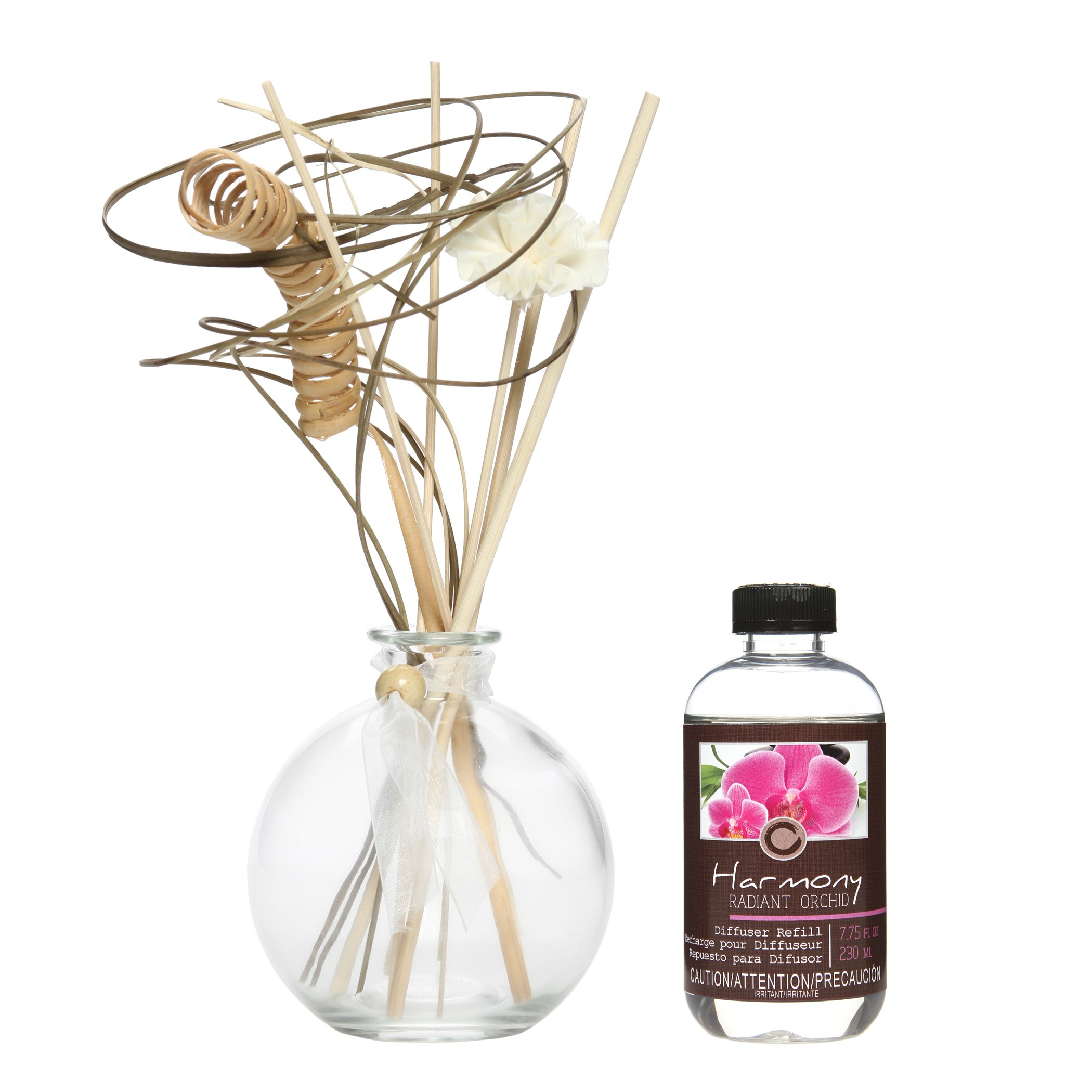 Hosley Aromatherapy Floral Radiant Orchid Scented 230 ML Diffuser Oil with 100 ML Glass Bottle and Reed Sticks. All in One! Bulk Buy. Ideal Gift for Weddings, spa, Reiki, Meditation, Bathroom O5