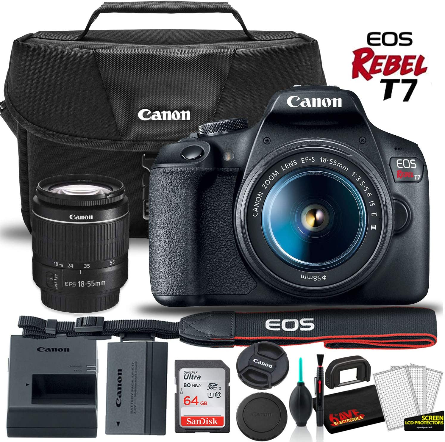 Canon EOS Rebel T7 DSLR Camera with 18-55mm Lens Starter Bundle + Includes: Canon EOS Bag + Sandisk Ultra 64GB Card + Clean and Care Kit + More