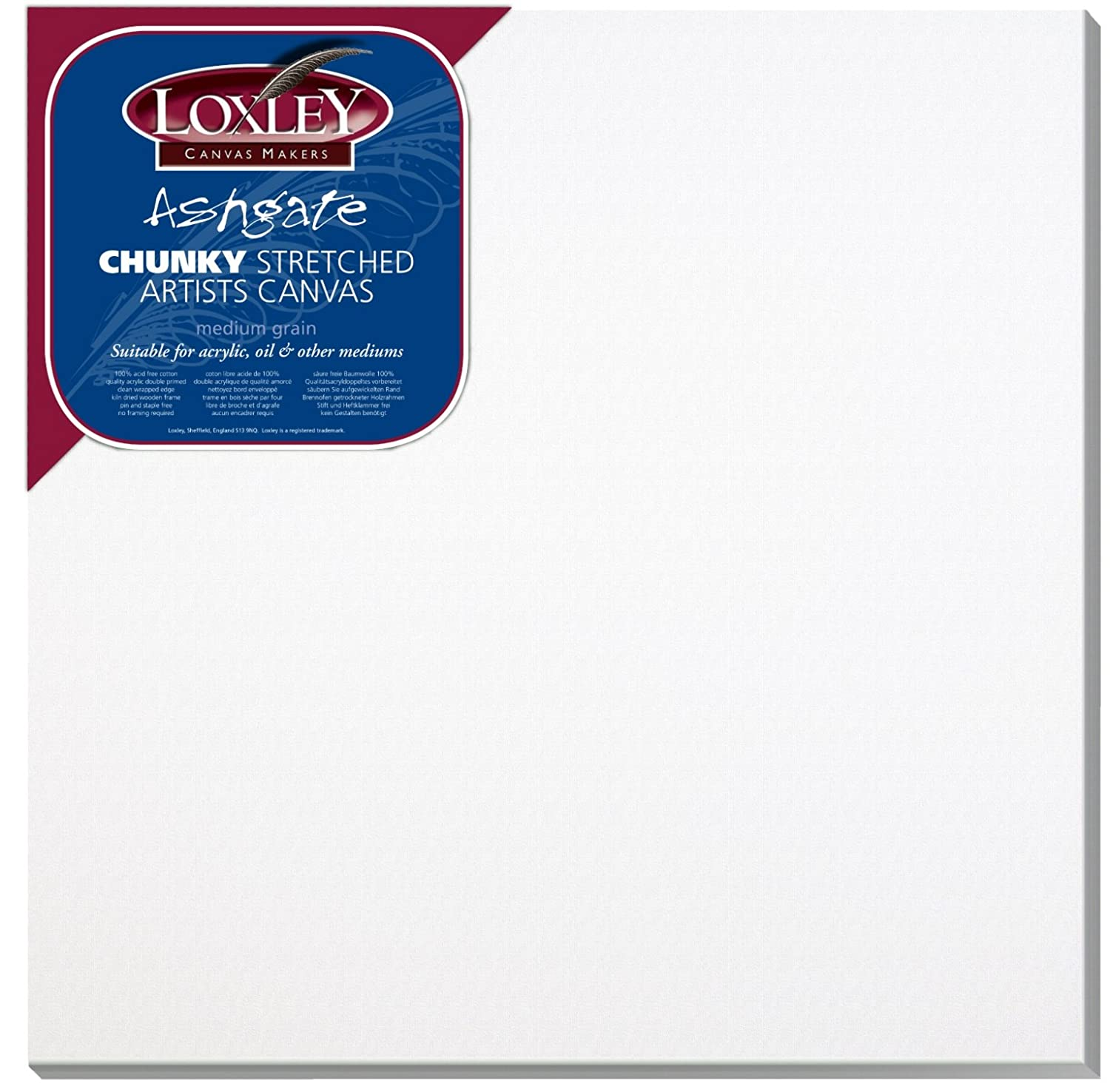 Loxley 24 x 24-inch Deep 36 mm Edge Ashgate Chunky Stretched Artists Canvas, White Colourfull Arts ACC-2424