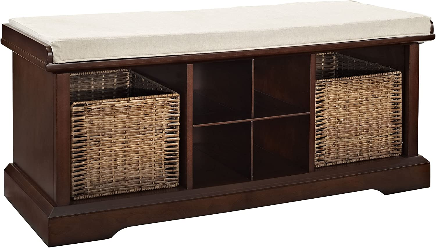 Crosley Furniture Brennan Entryway Storage Bench With Wicker Baskets And Cushion Vintage Mahogany Furniture Decor