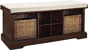 Crosley Furniture Brennan Entryway Storage Bench with Wicker Baskets and Cushion, Vintage Mahogany