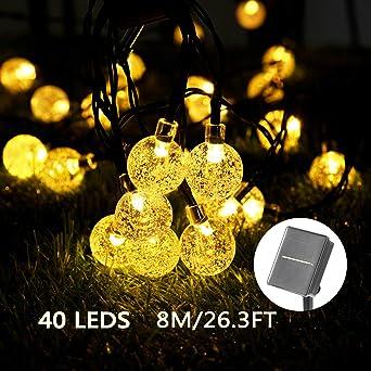 Solar Luces Decorativas 40 LED 8M/26.3FT Impermeable Solar Bola de Cristal Luz Decorativa Luces Exterior Solar Cadena Solar de Luces para Jardín Festival Árbol de Navidad Fiesta Boda (Blanco Cálido): Amazon.es: Iluminación