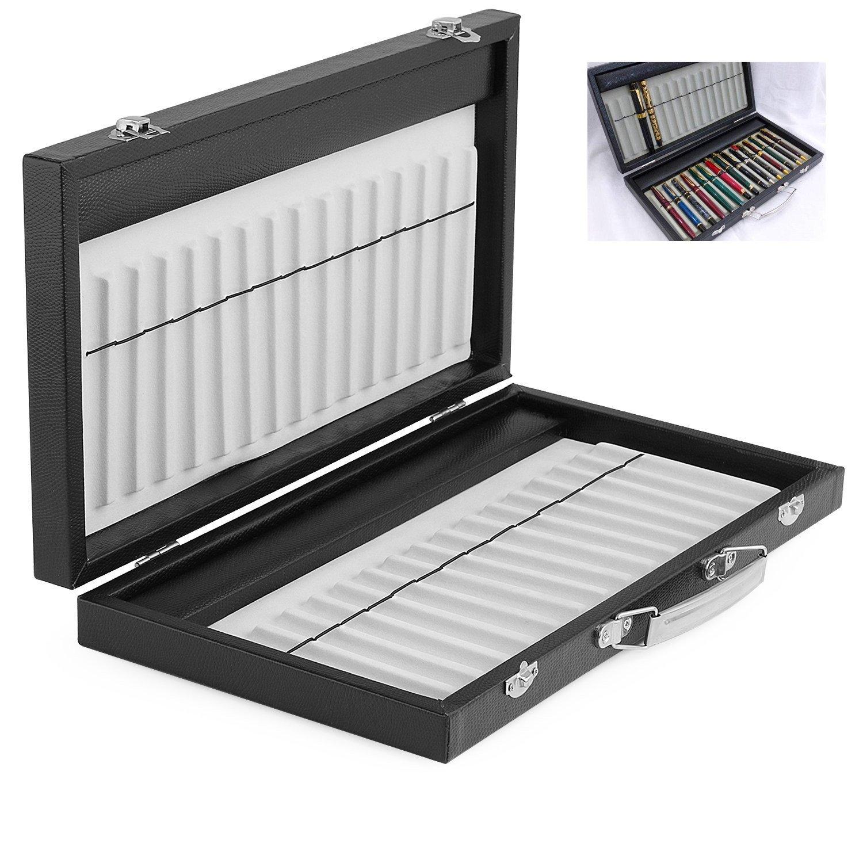30 Fountain Pen Case Carry Handle Pu Leather Pen Organizer