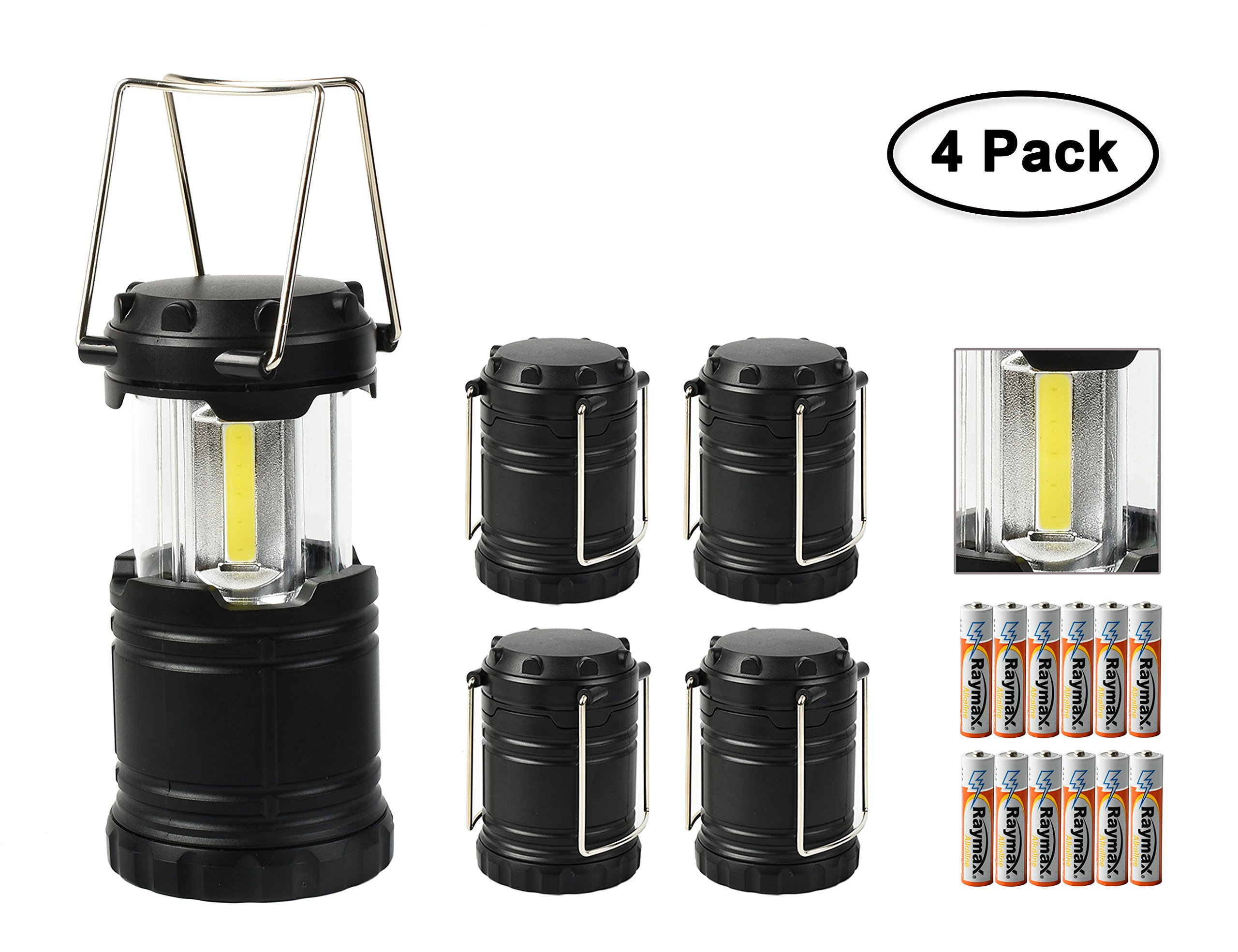 Worth LED Camping Lantern Ultra Bright Portable Collapsible Hanging Flashlight Water Resistant with 3 AAA Batteries for Hiking Fishing Black, 4 Pack