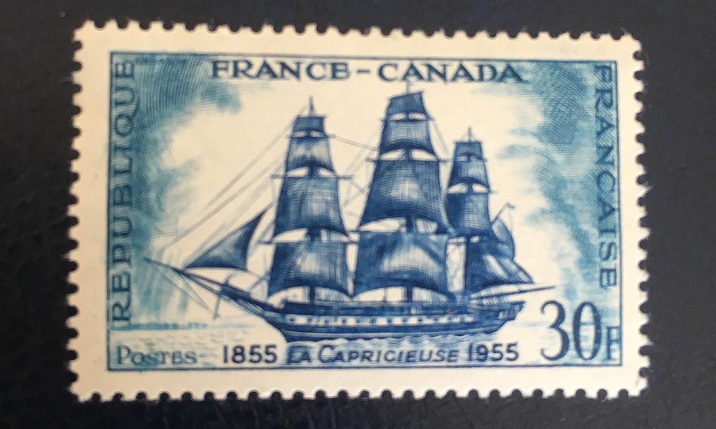 Authentique Timbre de Collection France 1955 Gomme intacte Neuf** sans charn/ère Fr/égate par des Livres Express Bateau /à Voile No 1035