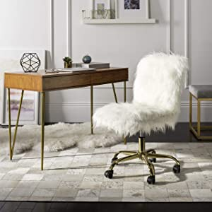 Safavieh Home Whitney White Faux Sheepskin and Gold Leg Swivel Office Chair