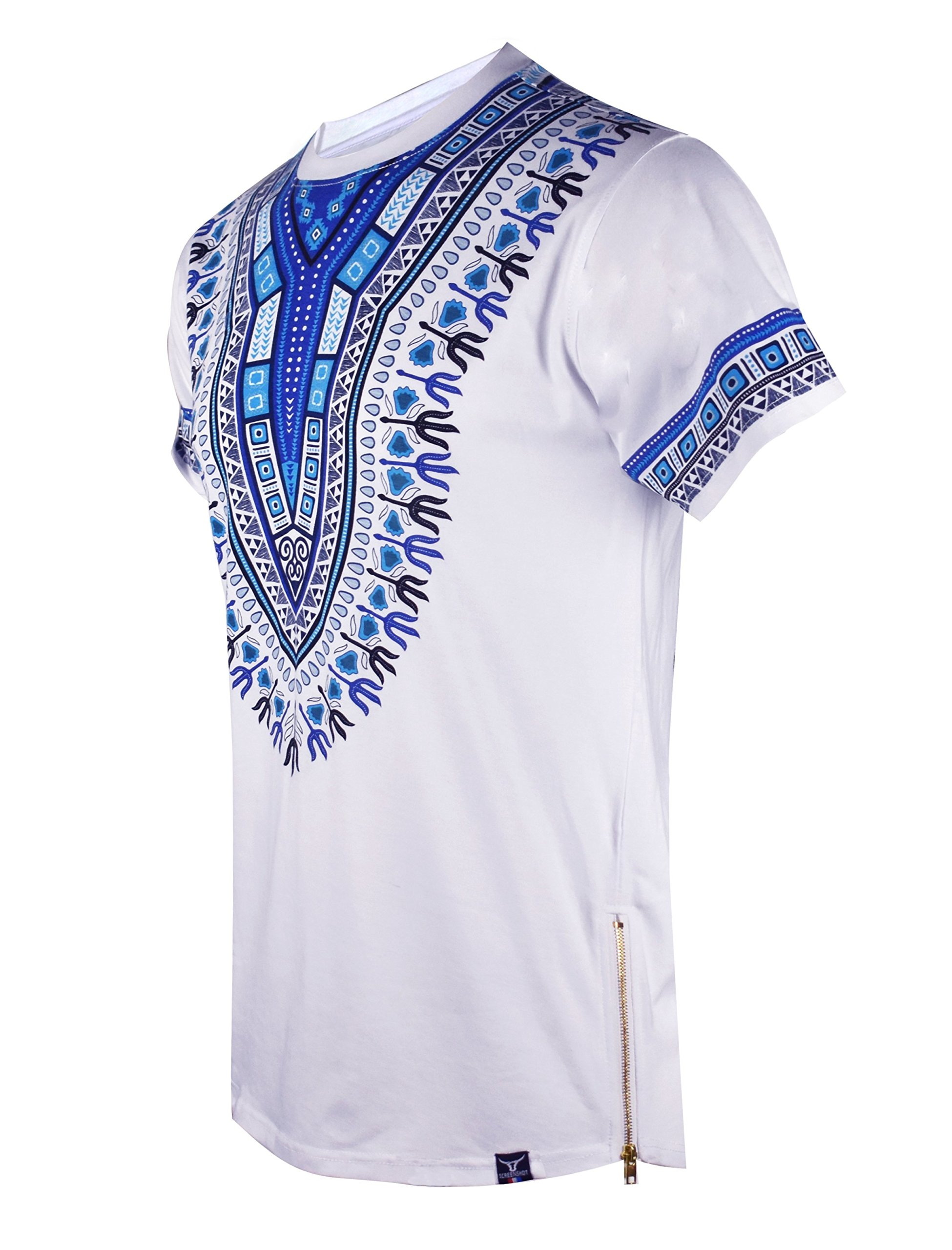 ec937a20 SCREENSHOTBRAND-S11838 Mens Hipster Hip-Hop Premium Tees - Stylish Longline  Fashion T-Shirt Dashiki African Design Pattern-White-Large