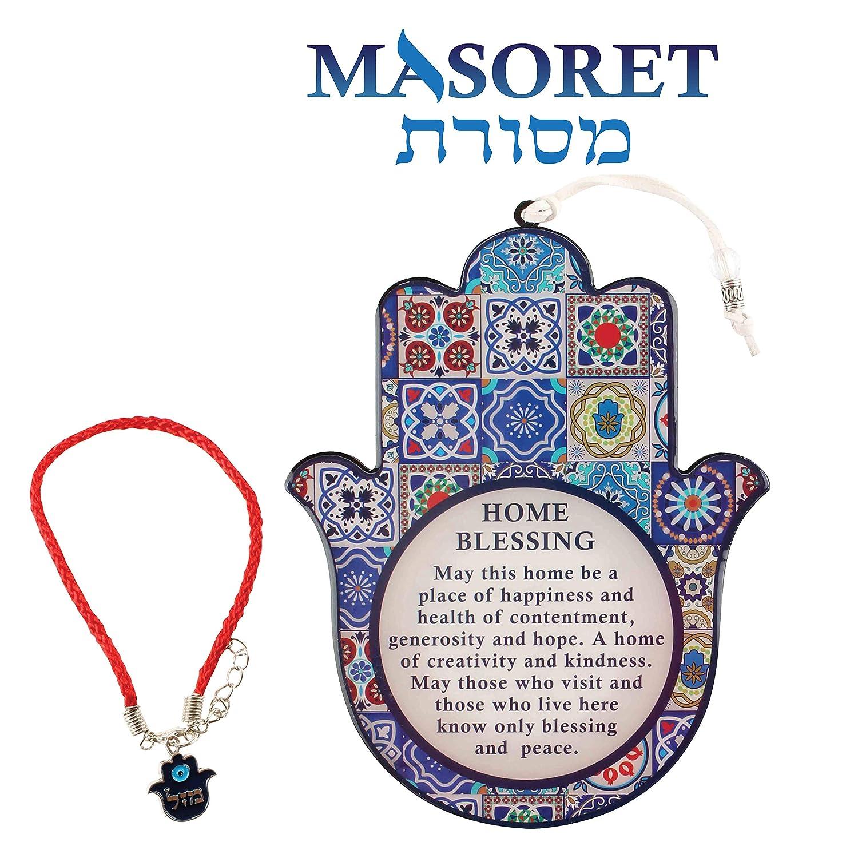 MASORET Good Luck Hamsa Hand Wall Hanging Decor Home Blessing Evil Eye Protection Amulet English Blessing Set 1