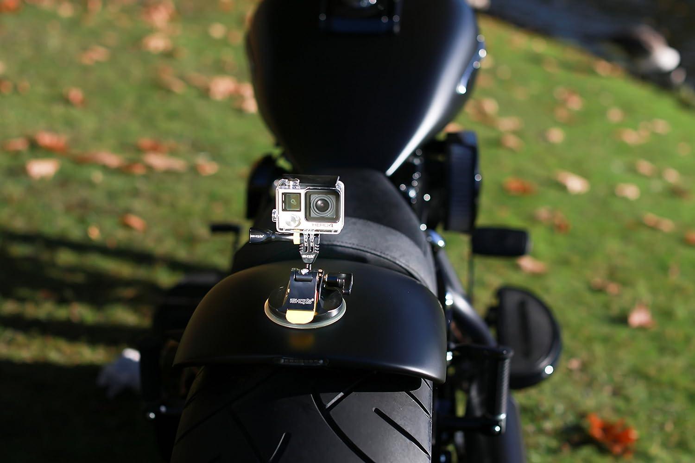 360 Grados para GoPro y Actioncam compatibles iSHOXS M1 GT dise/ño de Primera Calidad con Aluminio ProFork y Aluminio MountHandle Profi Suction Cup de Aluminio con fijaci/ón esf/érica 3D