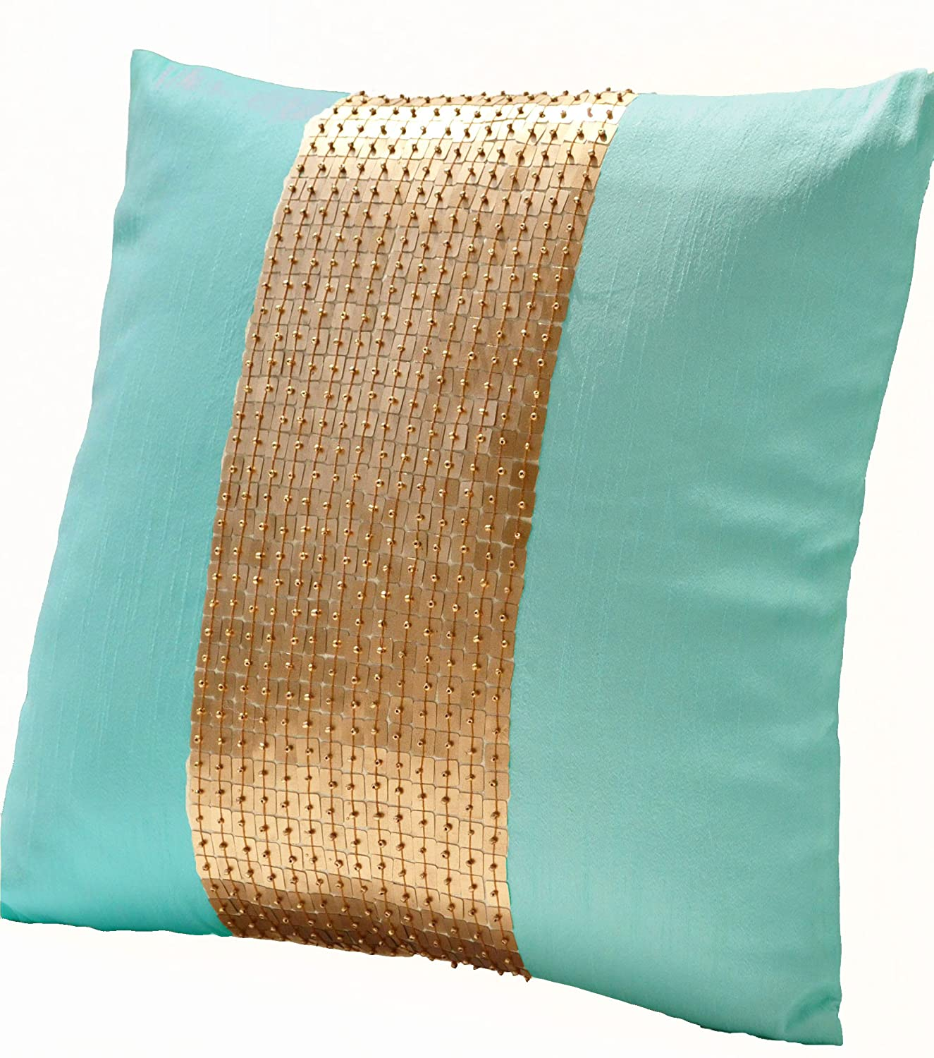 Amazon.com: Amore Beaute Handmade Teal pillow covers- Teal gold ...