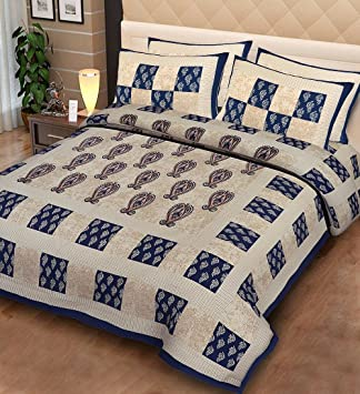 Fecom Super King Size Rajasthani Jaipuri Traditional Sanganeri Design 100% Cotton Double bedsheet, Bedspread, Bed Cover with Pillow Covers 100X102