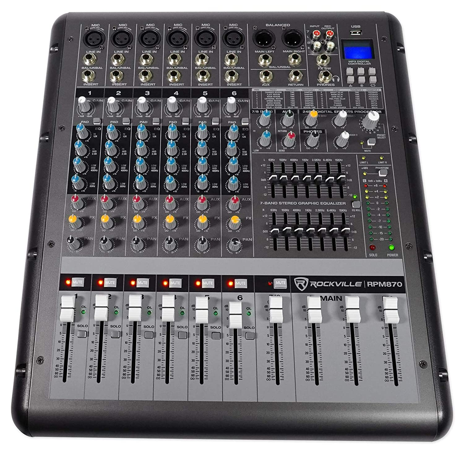 Rockville RPM870 8-Channel 6000w Powered Mixer, USB, Effects For Church/School RPM870 HOW