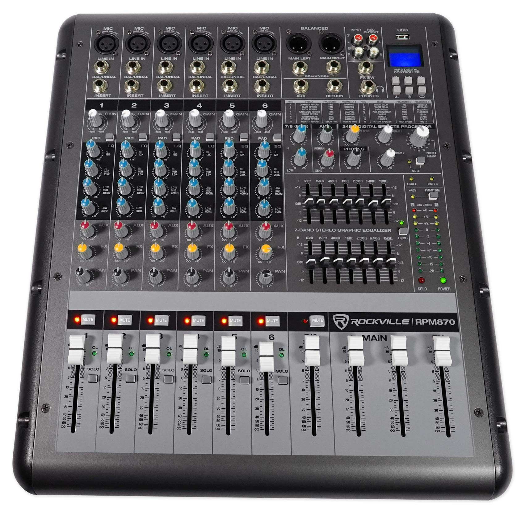 Rockville RPM870 8 Channel 6000w Powered Mixer w/USB, Effects, 8 XDR2 Mic Pres by Rockville