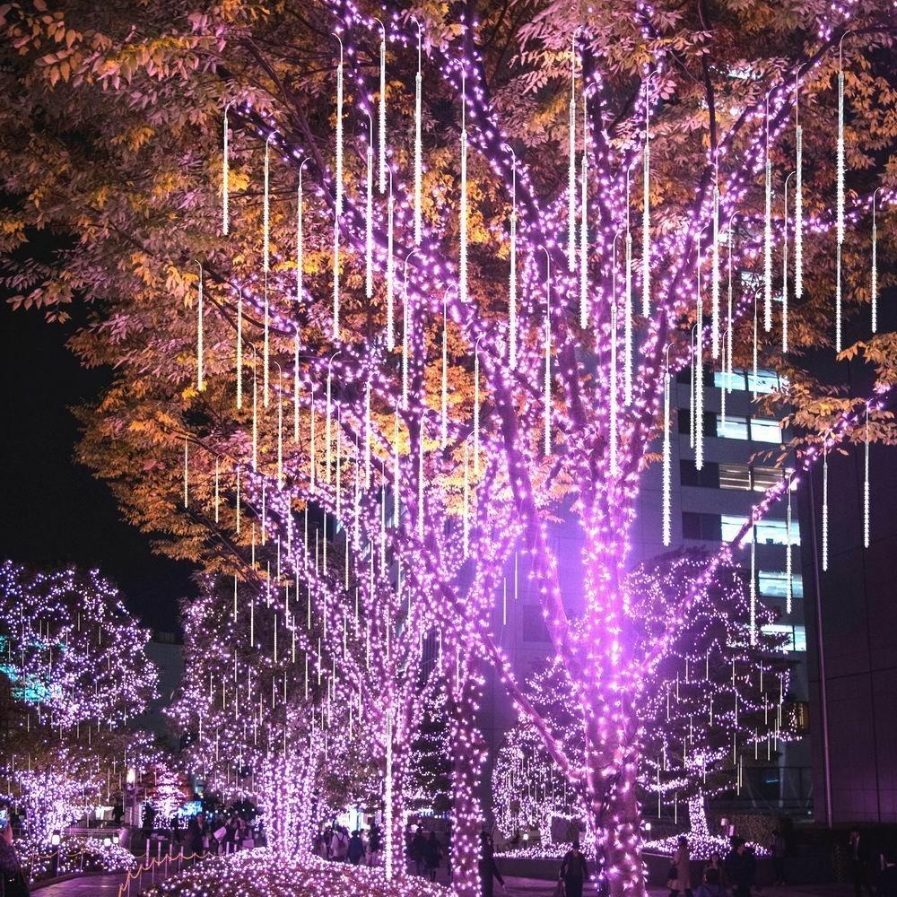 BlueFire Mejorada Meteoros Lluvia Luces Blanco Impermeabilizan 50cm 10 Tubos 540 LED de Luces Led Con Enchufe de la EU para Festival de Decoraci/ón del /árbol de Jardin de Navidad