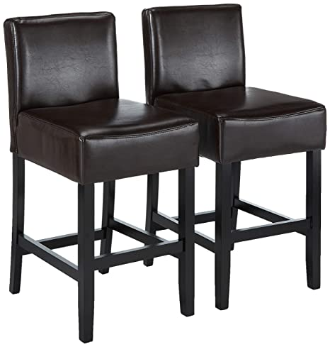 Groovy Best Selling Lopez Leather Counter Stool Brown Set Of 2 Bralicious Painted Fabric Chair Ideas Braliciousco
