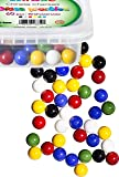 Chinese Checkers Glass Marbles, Set of 60, 10 of each Color, with Portable Container