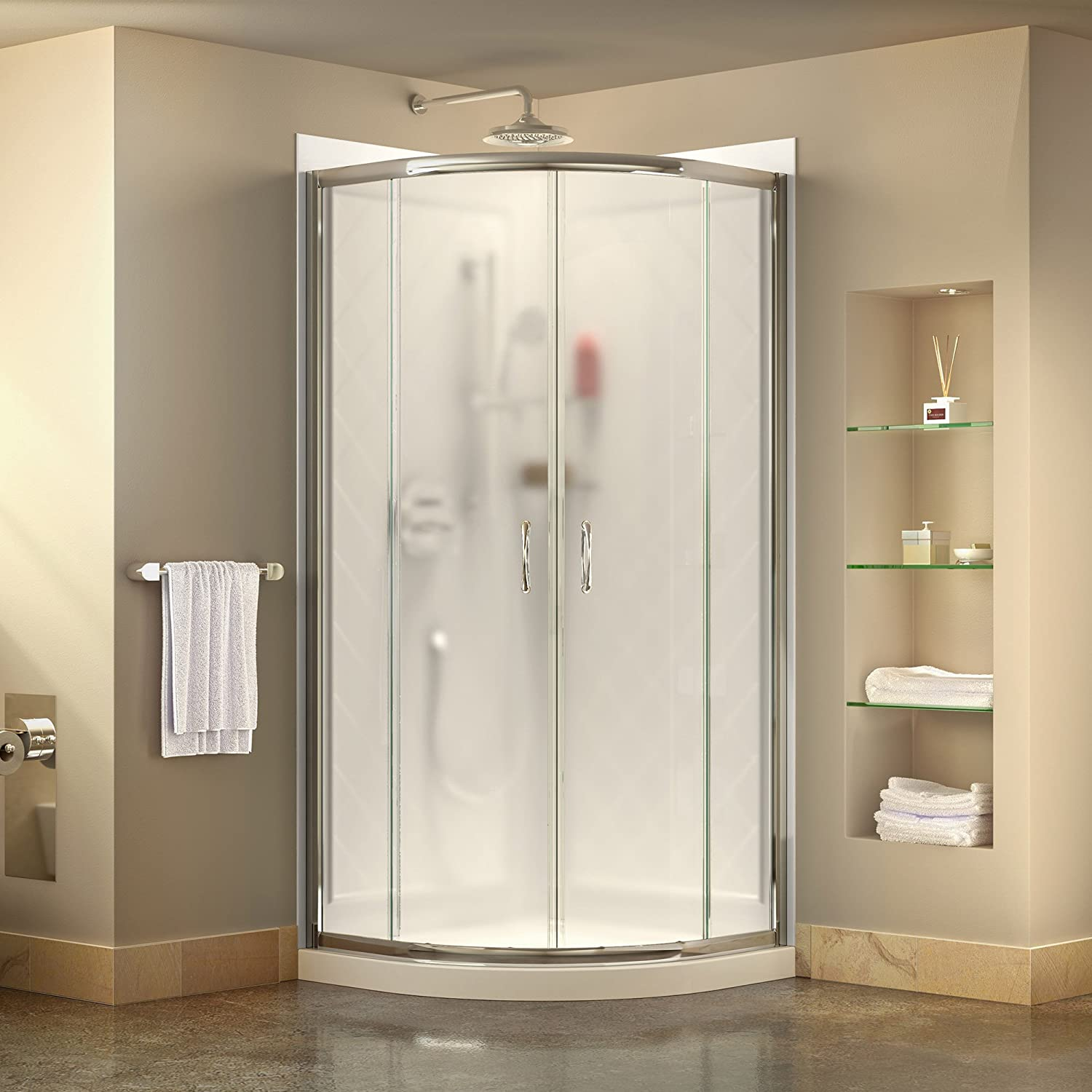 DreamLine Prime 36 in. D x 36 in. W Kit, with Corner Sliding Shower ...