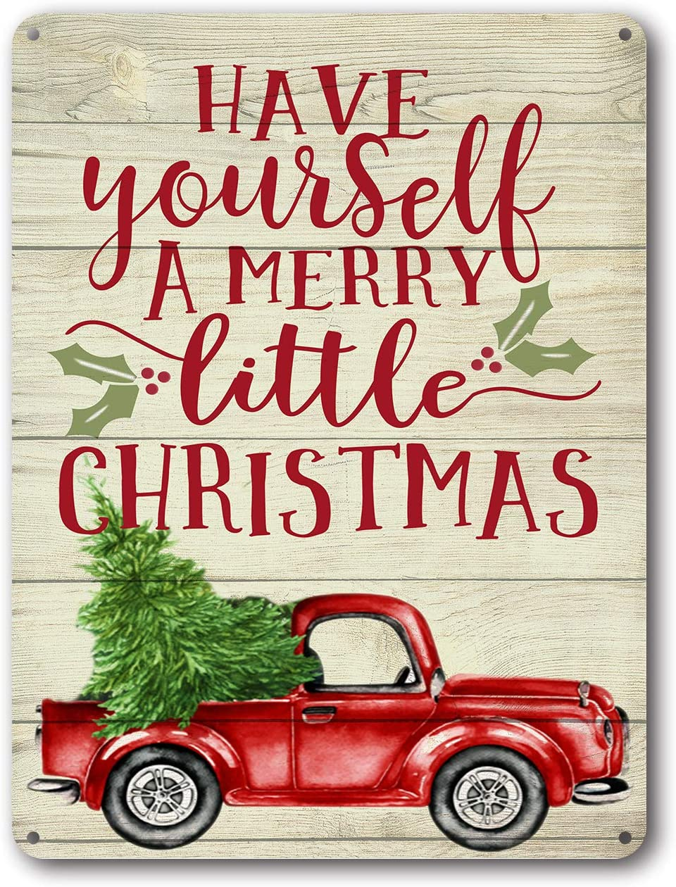 Goutoports Christmas Decor Signs Farmhouse Decorative Red Truck Vintage Wall Decorations - Have Yourself a Merry Little Christmas 7.9x11.8 Inch