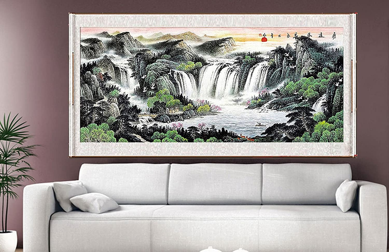 feng shui art for office. Amazon.com: Waterfall Painting, Feng Shui Fountain Water Asian Wall Art Prints Decor Large Scroll Chinese Landscape Paintings For Christmas Home Office