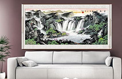 Waterfall Painting, Feng Shui Fountain Water Asian Wall Art Prints Decor  Large Scroll Chinese Feng