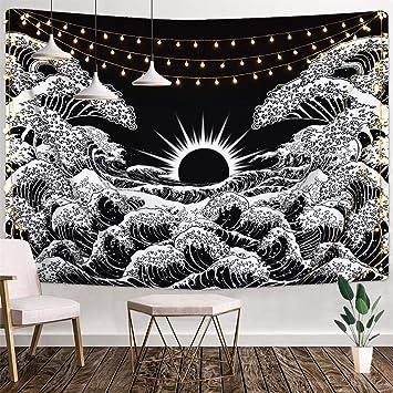 Amazoncom Puurbol Black White Great Wave Sun Tapestry
