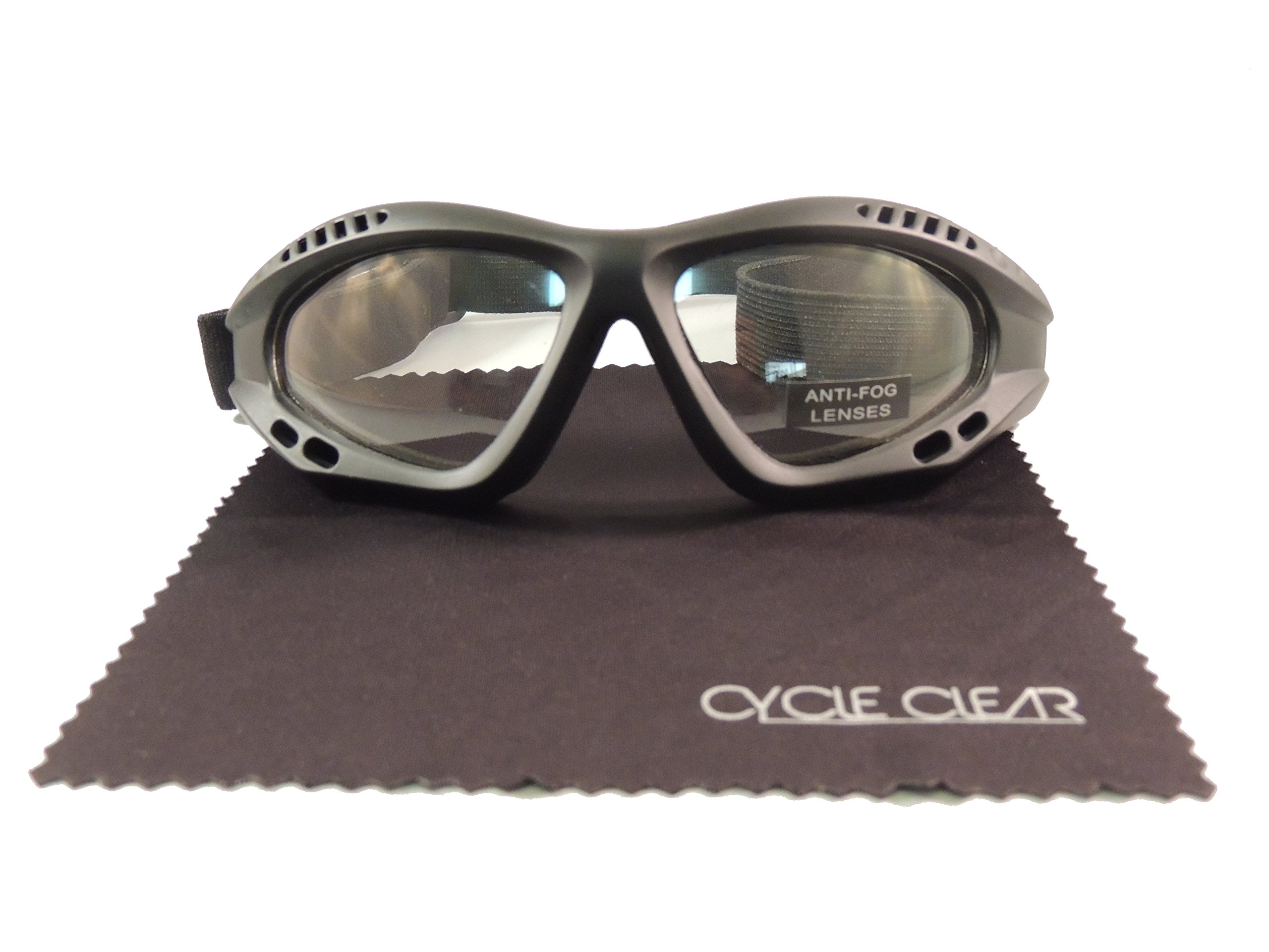 Cycle Clear Clear Tinted Motorcycle Goggles - Wind Proof Motorcycle Goggles Will Keep You Tear Free - Model ZX2