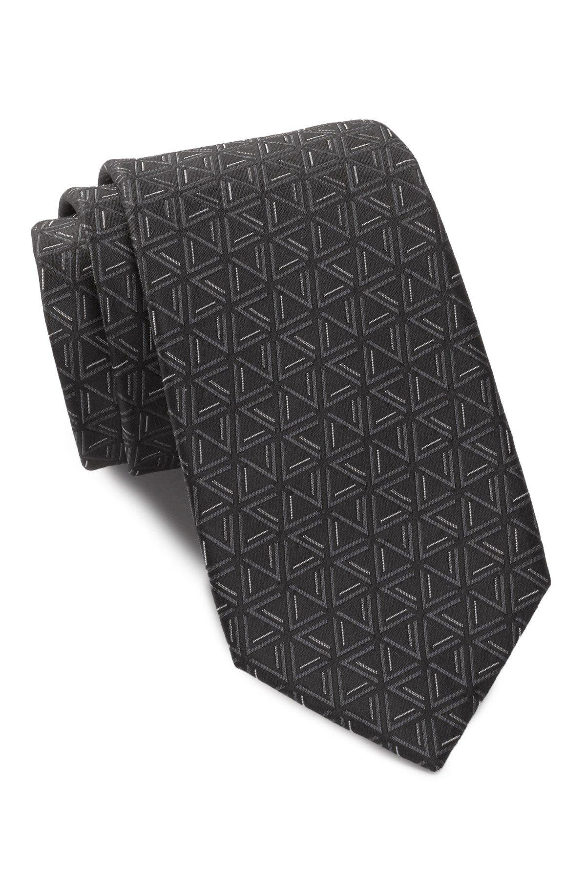 Ben Sherman Men's Triangle Print Silk Tie (Black)