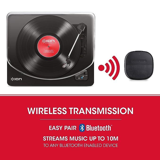 ION Audio Air LP Black - Tocadiscos de vinilo Bluetooth - reproducción inalámbrica y conversión de discos de 3 velocidades - 33 1/3, 45 y 78 RPM, ...