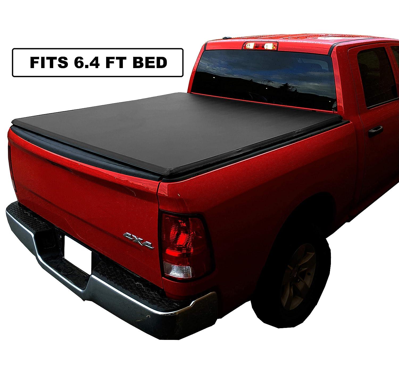 Black Series Auto Soft Tri-Fold Tonneau Cover 2002-2019 RAM 1500 2500 3500 6.4-Feet Box Non-RamBox