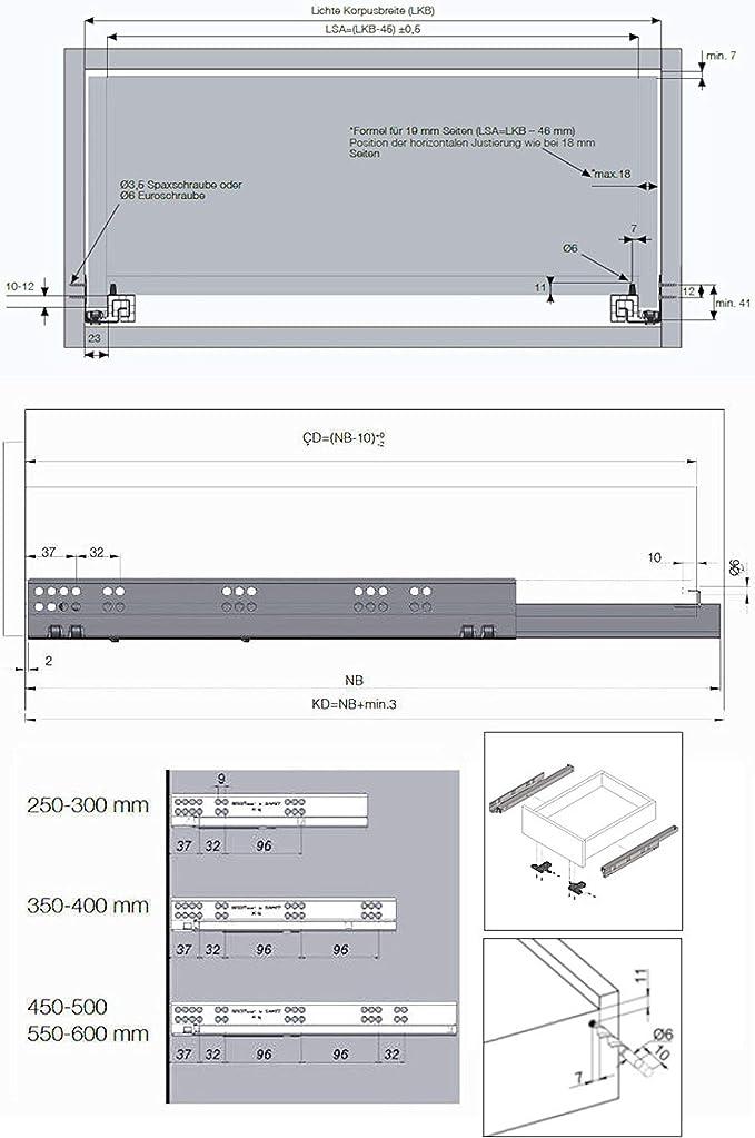 600 mm longueur nominale 1 paire SO-TECH/® Smart Slide Glissi/ère Rail de guidage sortie de tiroir compl/ète avec Soft-Close 30 kg
