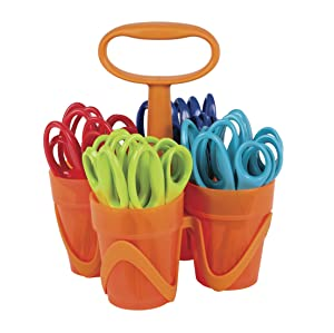 Fiskars 5 Inch Pointed-tip Kids Scissors with 4-Cup Carrying Caddy, Class Pack of 24 Pairs