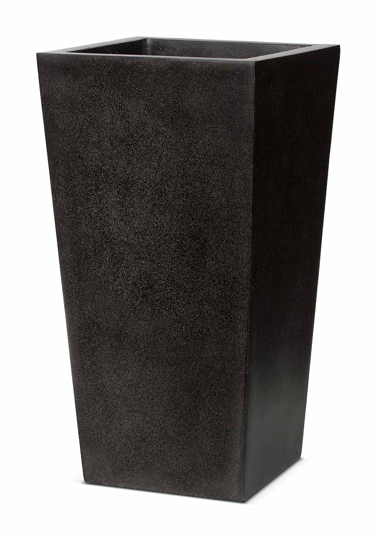 Cadix UK 24 x 24 x 46 cm Tapered Planter - Black Cadix UK Ltd FIT911