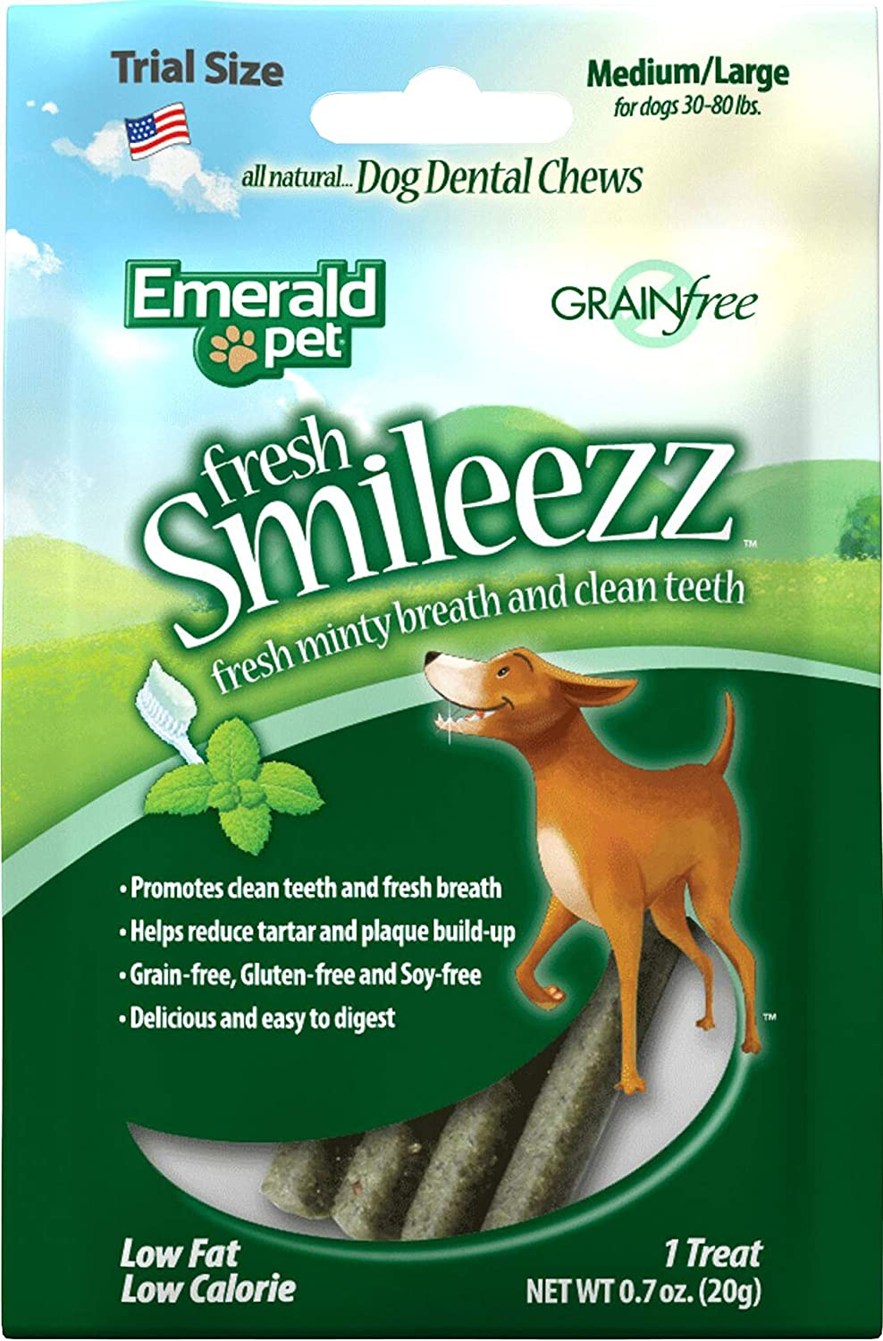 Emerald PET Fresh Smileezz Dog Grain Free Dental Trial Size Mint MD LG .7oz