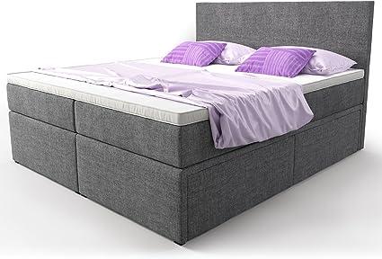 Cama con somier cama con cama Buzón Cajón gris plástico Elisa cama doble Cama Hotel muelles ensacados Topper