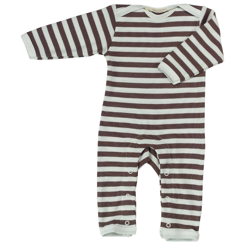pigeon-organics for Kids Onesie Pyjamas Romper Long Stripes Brown 0-3 M OFK-ROL STRBRO 0-3M