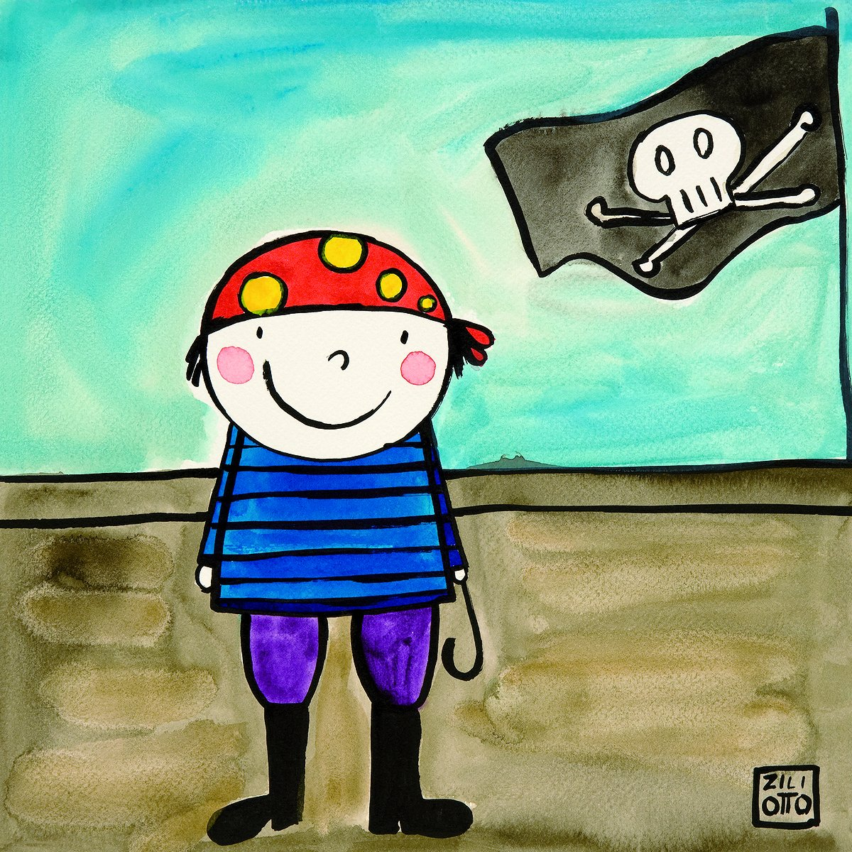 Happy Spaces Kids Wall Art Pirate by Jennifer Ziliotto Canvas Print (40 x 40 x 2 cm) JD-09-05