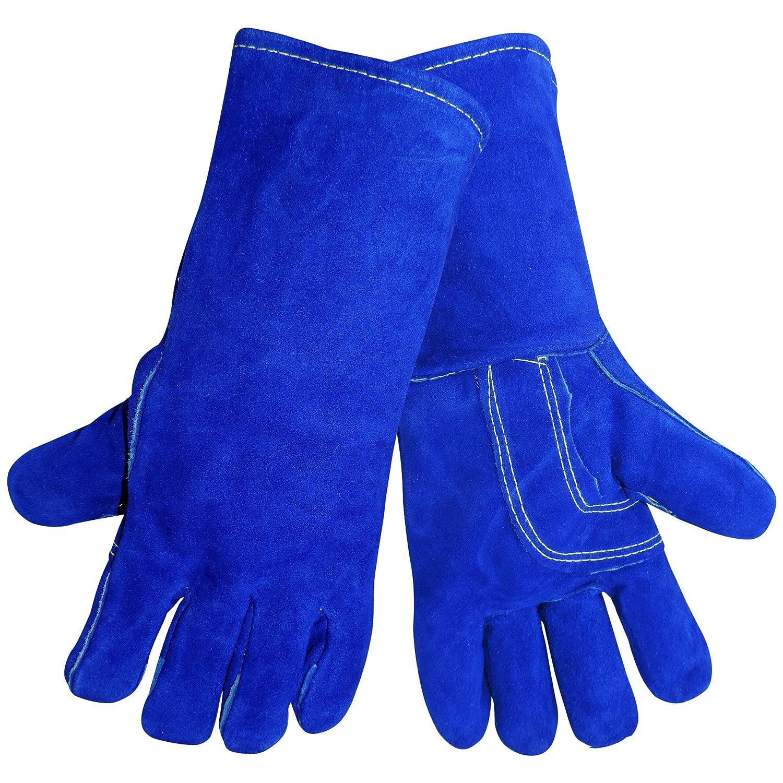 Mundial guante 1200 kb-lh Kevlar cosido piel de primera calidad Split soldador mano izquierda guante, trabajo, 1 tamaño, azul (caso de 72): Amazon.es: ...