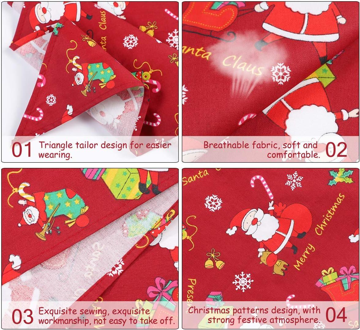 POPETPOP 2Pcs Natale Collare Bandane per Cani Rosso, Verde Stampato Saliva Asciugamano per Cani e Gatti Bandana Sciarpa per Animali da Compagnia