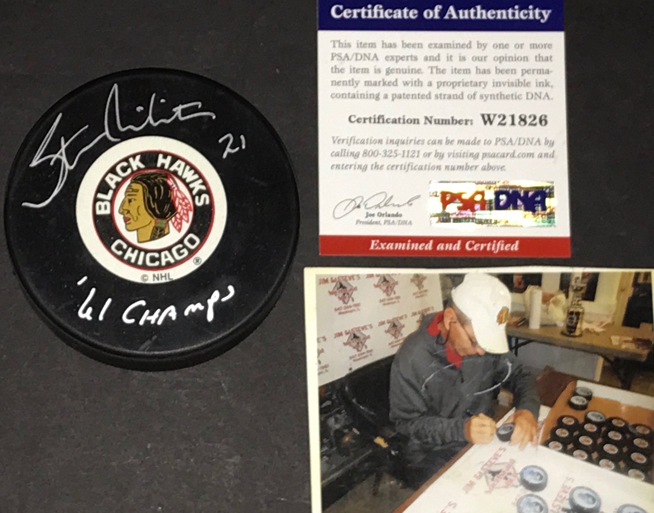 Stan Mikita Chicago Blackhawks 61 Champs Autographed Signed Puck PSA DNA COA