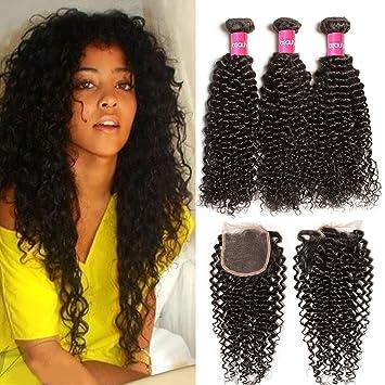 Amazon longqi hair unprocessed good quality brazilian curly longqi hair unprocessed good quality brazilian curly virgin hair weave 3bundles with 1piece lace closure 4x4inch pmusecretfo Choice Image