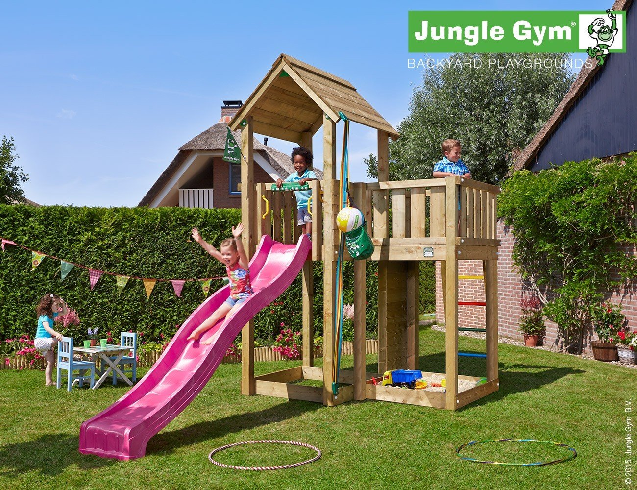 JUNGLE GYM Spielturm Jungle MANSION mit Wellen-Rutsche, Gesamtmaße (B/T/H): 220/430/320 cm