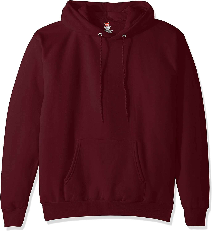 Hanes Men's Pullover EcoSmart Fleece Hooded Sweatshirt, Maroon, 3XL
