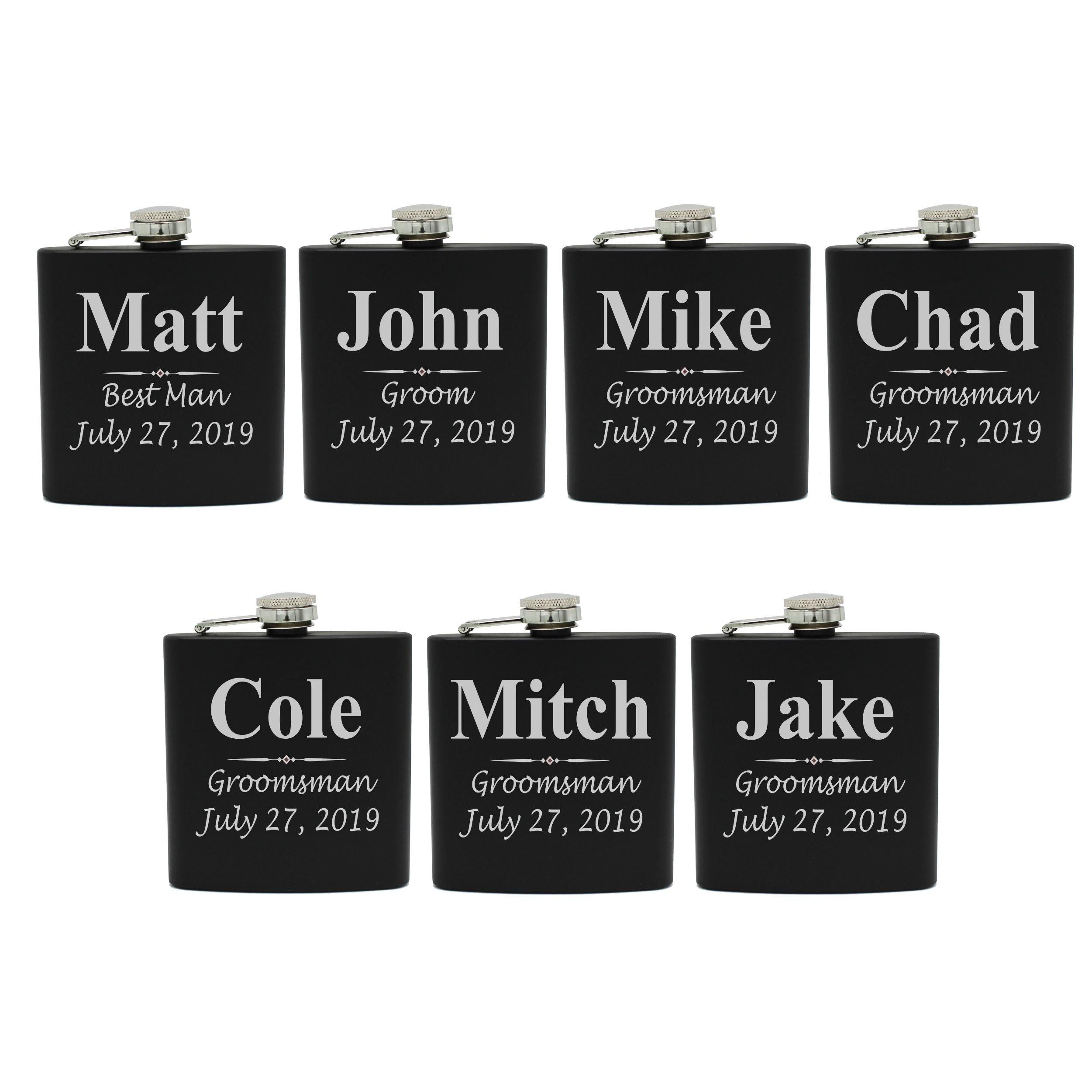 Set of 1, 2, 3, 4, 5, 6, 7, 8 Personalized Black Flask - Custom Engraved Groomsmen, Best Man, Groom Gift Flasks - 3 Lines Style (7)