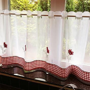 Just Contempo gatos Cafe Red Panel de gasa, negro, tela, Red Poppies, 60 x 24 inches: Amazon.es: Hogar