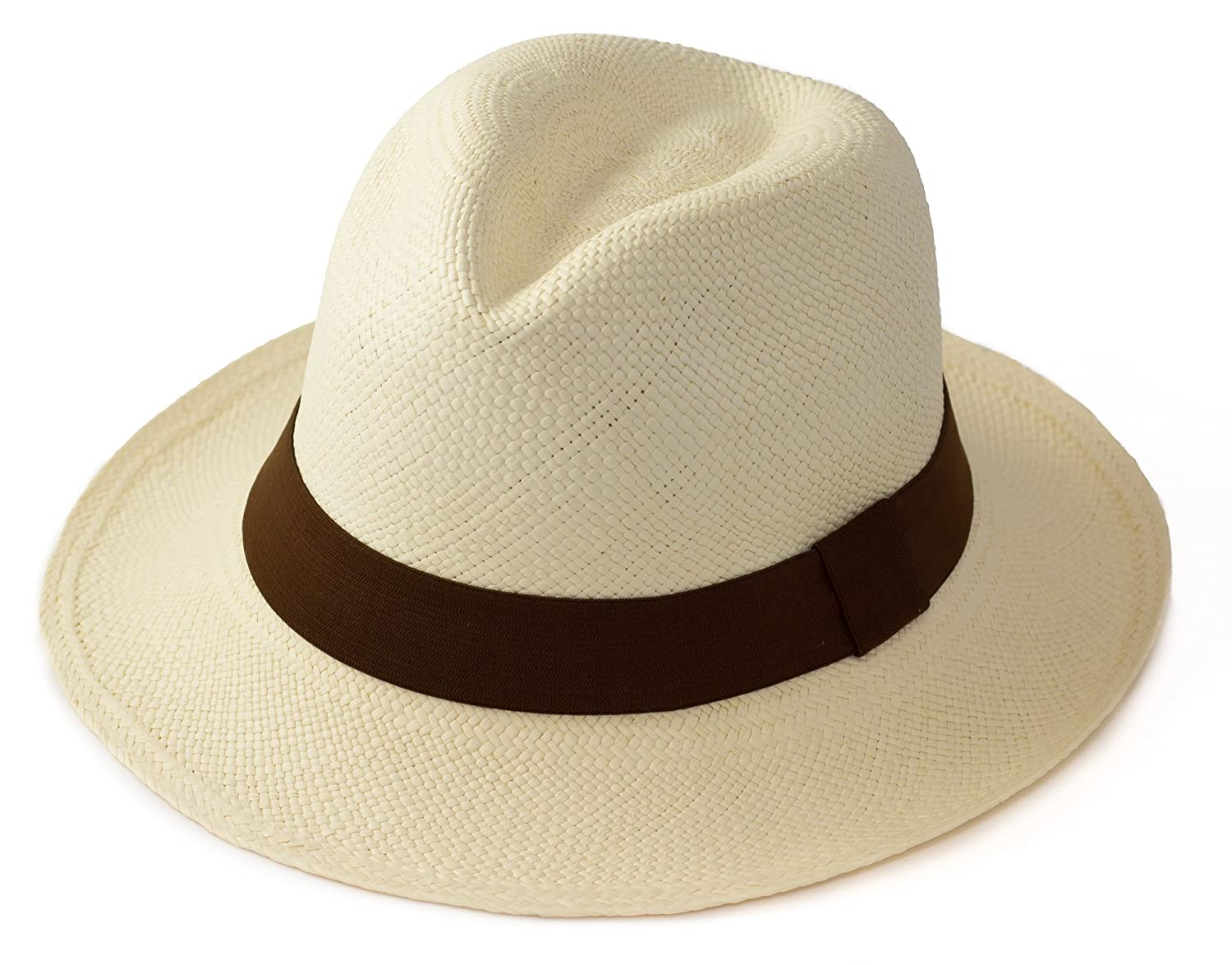 1c17e671 Traditional Panama hat foldable with BROWN band, size 59 - Fair trade and  hand woven in Ecuador: Amazon.co.uk: Clothing