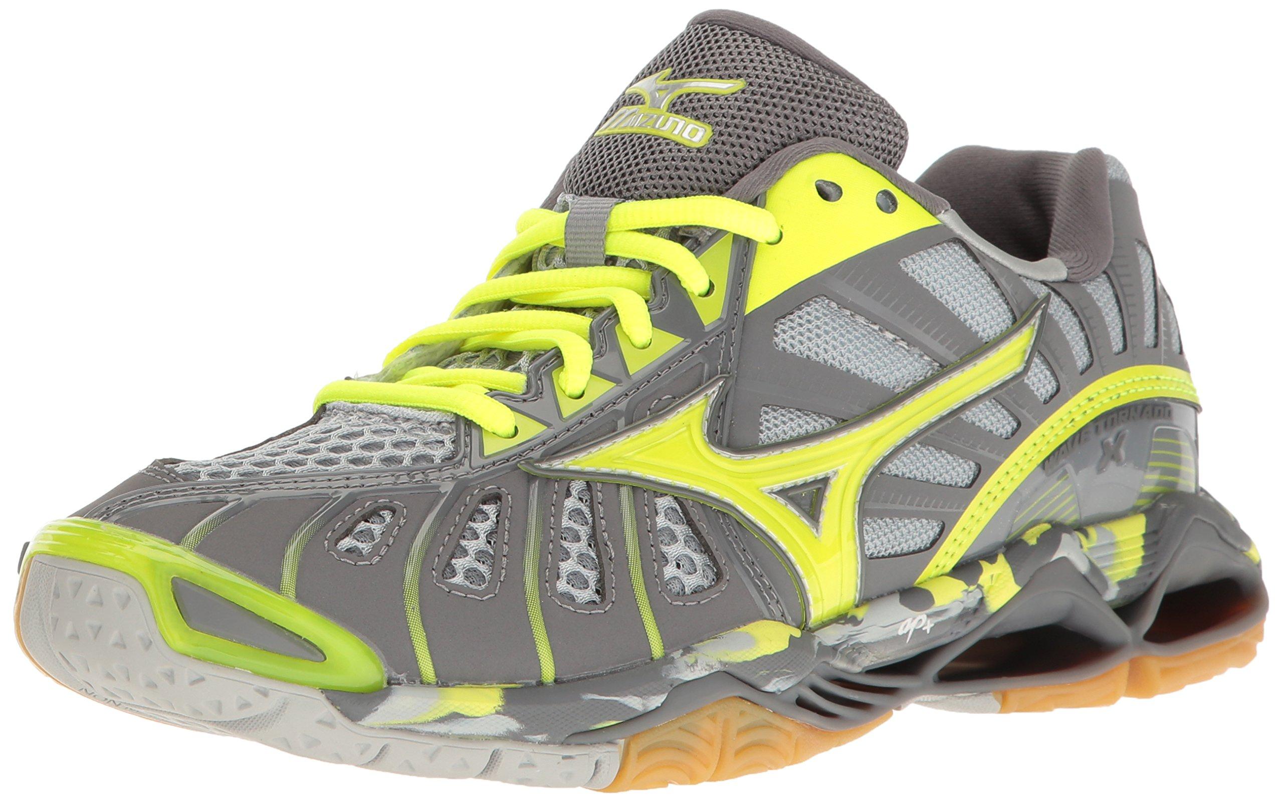 Mizuno Wave Tornado X Womens Volleyball Shoes, Grey/Safety Yellow, 6 B US